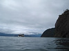 """View of the boat from """"The Shackle"""" dive site."""