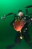 Dendronotus iris nudibranch (Rainbow Nudibranch) and photographer.  This was a monster-size sea slug!