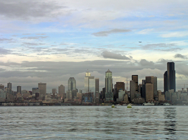 The beautiful view of Seattle from the dive site.