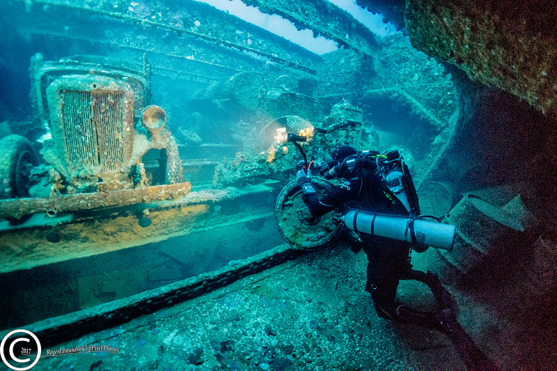 One of the holds in the San Francisco Maru in Chuuk Lagoon