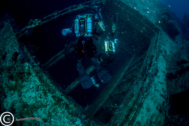 A hold of the Aikoku Maru in Chuuk Lagoon