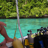 On our way to the first dive of the morning with Robin and Monica.