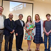 "5/1/16 FITCHBURG-- Left to right; Museum Director Nick Capasso, Artist Douglas Kornfeld, Fitchburg Mayor Stephen DiNatale, essay winner Alyssa St. Cyr, mother Kara St. Cyr, brother Tyler St. Cyr and father James St. Cyr of Fitchburg after Capasso announced Alyssa as the winner of the Name This Sculpture Contest granting her the honor of naming Kornfeld's creation ""Thurston""  after cythe maker and artist Asa Thurston.  SENTINEL & ENTERPRISE/Jeff Porter"