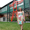 """5/1/16 FITCHBURG-- Writer of the winning essay """"Thurston"""" by Alyssa St. Cyr of Fitchburg.  The winning bid granted her the honor of naming the sculpture after Asa Thurston, a scythe maker and artist who was born in Fitchburg in 1787.   The sculpture stands at the Fitchburg Art Museum.  SENTINEL & ENTERPRISE/Jeff Porter"""