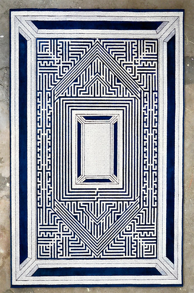 Maze I_Mixed media on engraved carpet_48x72 inches_2015