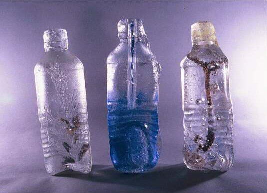 "August, 2000<br /> These are castings of disposable ""Evian"" like drinking bottles with pressed in forms of cedar cones, cedar needles, seaweed, sticks, and other found objects... interesting statements on consumerism."