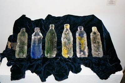 "Water Bottles <br /> with specimens<br /> cast glass<br /> each bottle 10"" x 3"" x 3"""