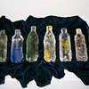 "Water Bottles <br /> with specimens<br /> cast glass<br /> each bottle 10"" x 3"" x 3"""