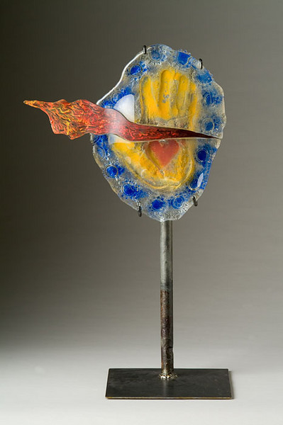 "<h2>Fire Within</h2>cast glass and reclaimed steel  28"" x 17"" x 11"" May, 2003 Energy and warmth glow from the essence of this sculpture. It is inspiring and passion- filled to see the ""creative flame"" eminating from the hand. sculpture © Bill Hess"