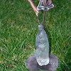 "<h2>Water Bottles with Sprouting Parts</h2>cast glass, steel 28"" x 8"" x 6"" November, 2001"