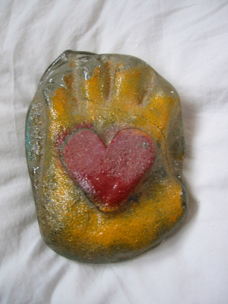 <h2>Heart in Hand</h2>cast glass