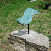 Flowing wave<br /> -memorial commissioned for Polly Medlicott <br /> cast recycled window glass and steel<br /> April, 2011