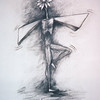 "<h2>Flower Flapping</h2>charcoal 22"" x 36"" 1995"