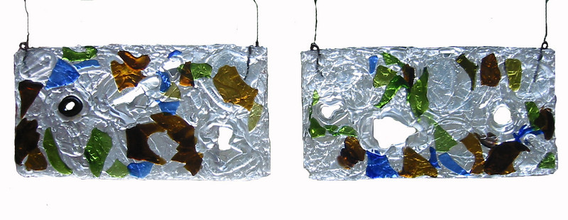 """<h2>Aperturi Oecologici </h2>hanging panels recycled glass each panel 11"""" x 4"""" x ½"""" September, 2007"""