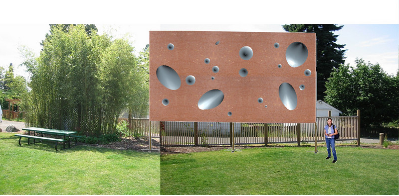 <h2>Simulated Model of VIGA Park Protruding Wall Sculpture</h2>Digital Photo Overlay June, 2003