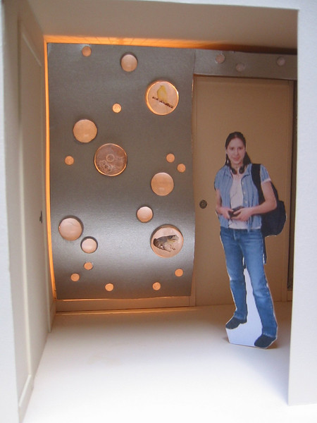 "<h2>Scale Models Ober Park Library Lobby and Bathroom matte board, plastic hemispheres, electric lighting</h2>With Public Artist Dan Corson: models for installations on Vashon Island, Washington 28"" x 20"" x 20""  February, 2003"