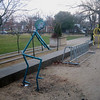 "<h2>""Tree-Cyclists Waiting for Bikes""</h2>Washington Park, Charlottesville, Virginia Fused reclaimed glass, welded steel and auto body paint each rack: 65"" x 43"" x 30"" December, 2007"