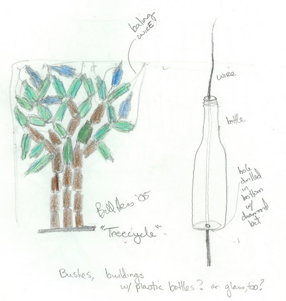 "<h2>Concept - Tree-Cycle</h2>plastic soda bottles, wire 72"" x 60"" x 30""  June, 2005"