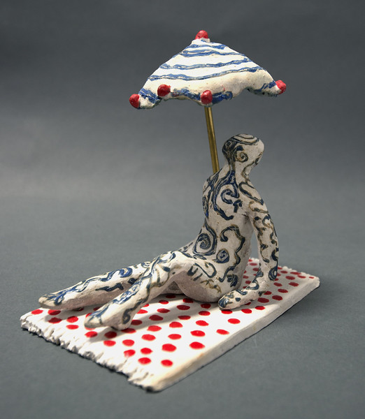 Reclining Figure with Umbrella on Polka Dot Towel -- Alternate View
