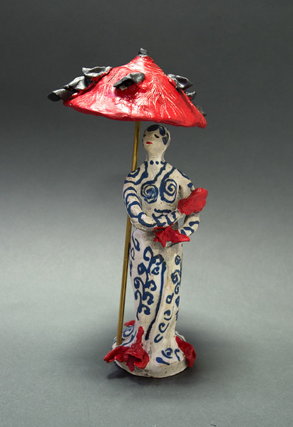 Figure with Red Umbrella