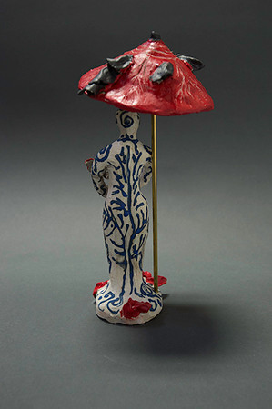 Figure with Red Umbrella -- Alternatve View