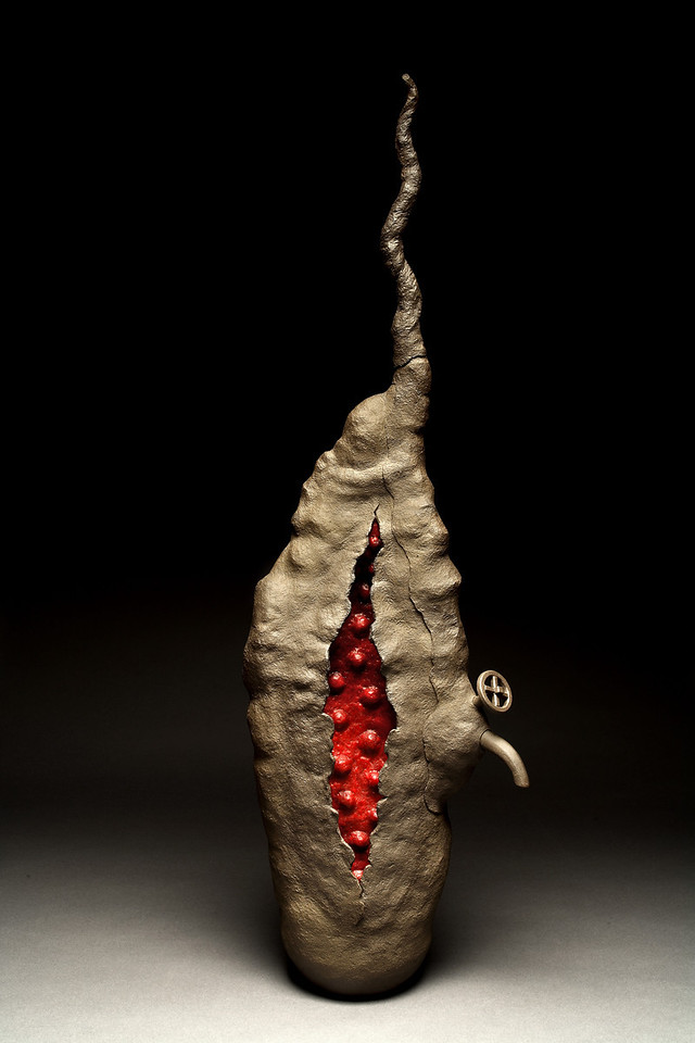 Untitled, 2002<br /> clay, beeswax, resin, pigment<br /> 43 x 14 x 9 inches