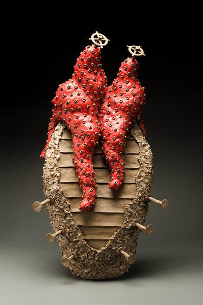 Untitled, 2002<br /> clay, beeswax, resin, pigment<br /> 30 x 17 x 10 inches