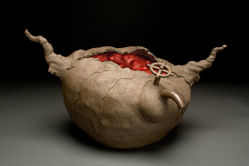 Untitled, 2002<br /> clay, beeswax, resin, pigment<br /> 13 x 22 x 13 inches