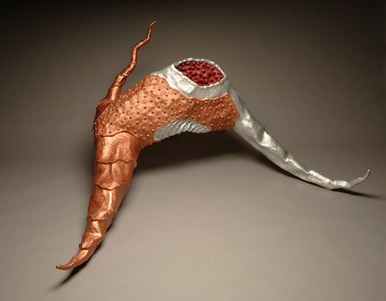 Untitled-PM02, 2005<br /> resin, acrylic, wire mesh, beeswax, pigment, papier-mache<br /> 33 x 58 x 48 inches