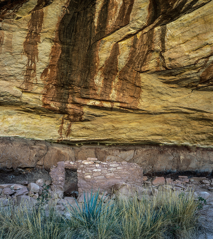 One of the many ruins found at Natural Bridges National Monument. A trail winds along a river canyon where many ruins and three large natural bridges are located.