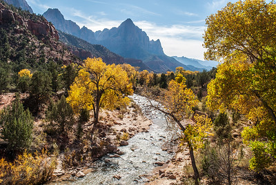 The Watchman from bridge over the Virgin River, Zion NP