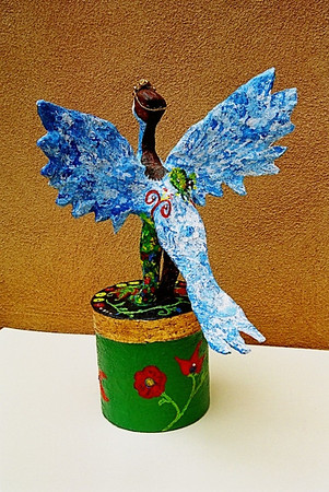 """Sirin, Russian Bird of Paradise"" 2004, (back view) mixed-media sculpture composed of wire, papier mache, gold leaf, crystals, jeweled crown and acrylic paint"