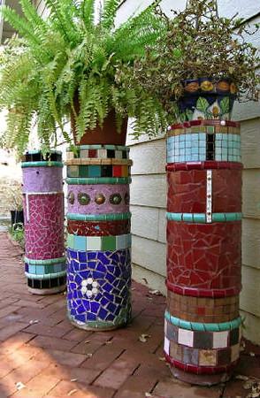 Assortment Of Mosaic Garden Columns