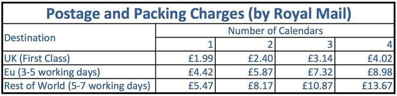 2017 Calendar P&P Costs