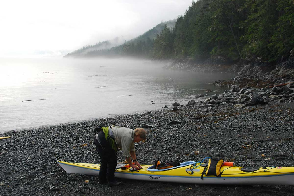 Here is Ann packing up on the second morning.  The days were usually either calm and foggy, or raining with better visibility.