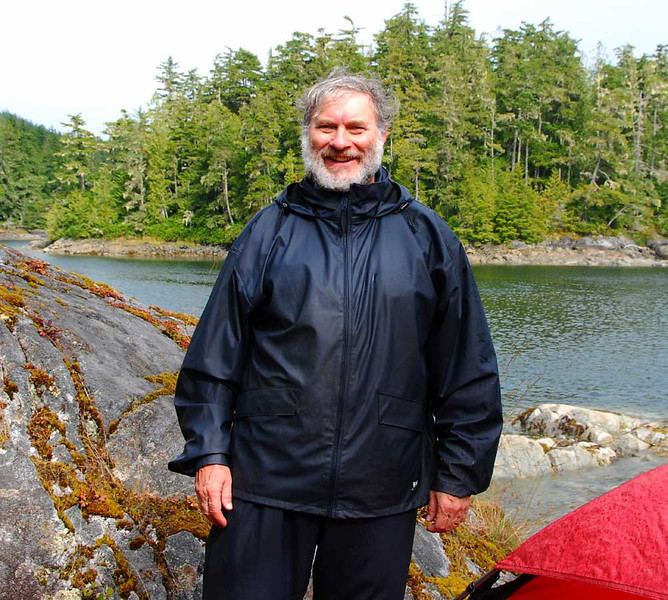 Here I am in between rain storms at the Maggy Point camp.  Just before dinner, a big black bear swam from the island behind me to our camp.  However, when he saw me he knew he was about to tangle with a really tough dude, so he headed into the forest never to be seen again.