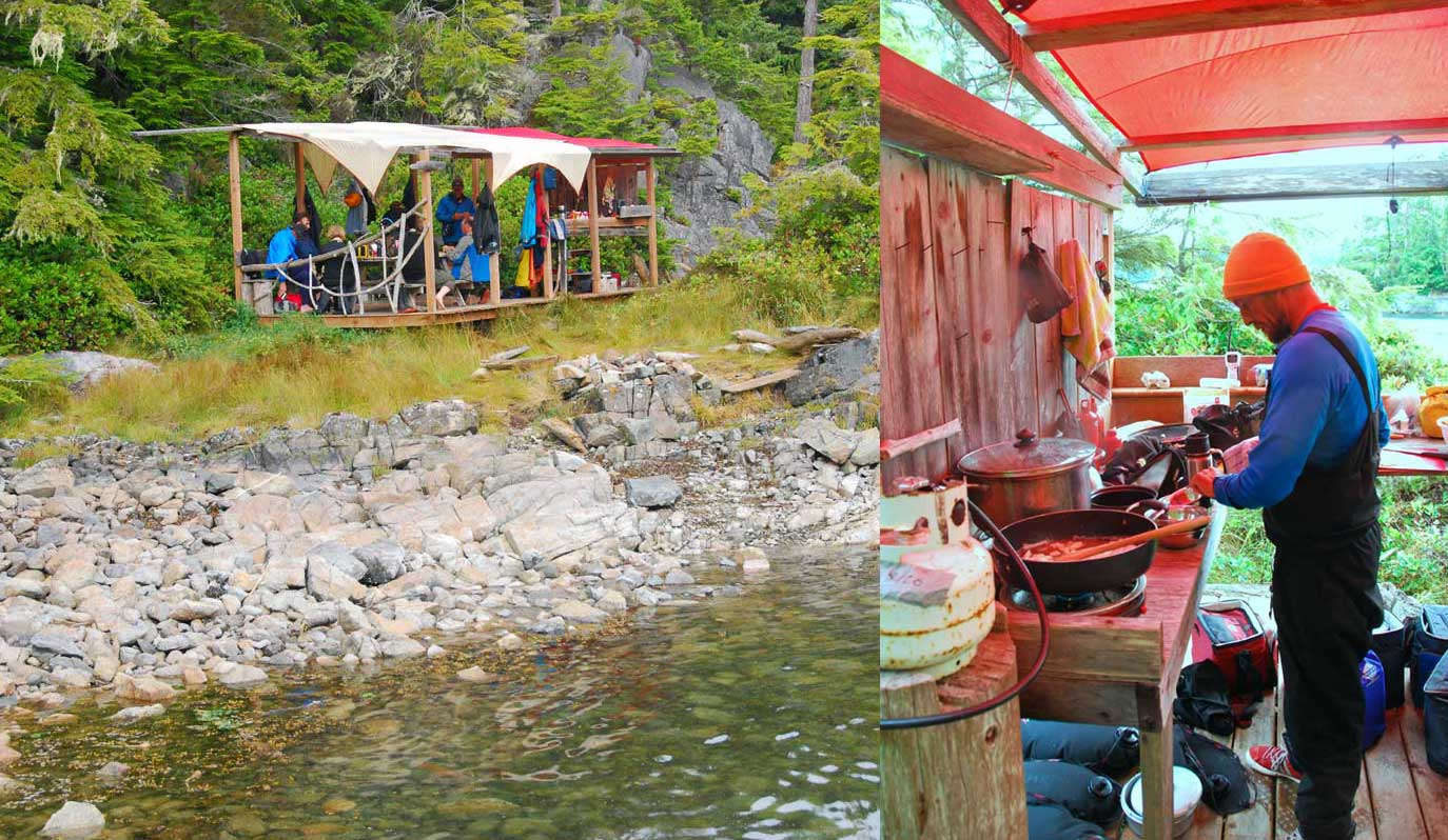 Many places in the Broughton Islands have small frame shelters where you can put up a tarp roof and cook out of the rain.  These are often constructed and maintained by commerical kayak companies.  The camps all had pit toilets.