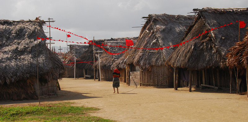 We started paddling from the island of Digirdup (Jaguar Island), which is home to a Kuna village of about 950 people in 105 families.  This is main street in Digirdup.  Kuna houses are made only of cane poles for walls and palm fronds for thatched roofs.  Each family has one room with a dirt floor (no windows, since the cane walls give good ventilation).  You sleep on the floor or in a hammock, and cooking is on a wood fire in the middle of the room.