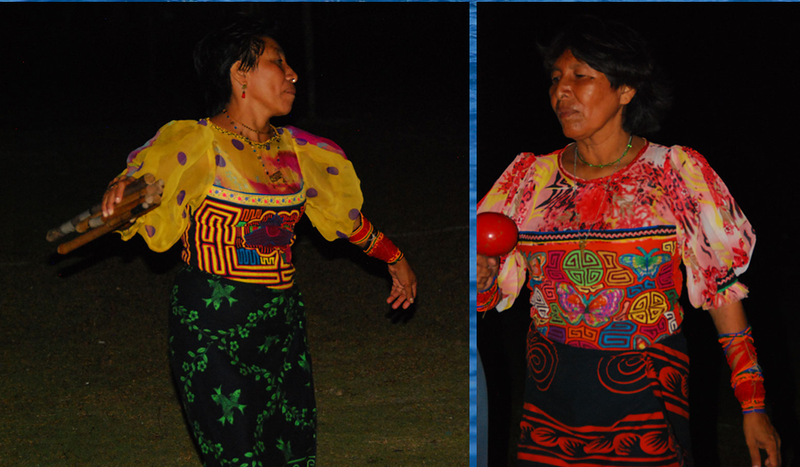 Kuna women are always colorfully dressed in handmade, reverse applique molas, which are a local specialty.