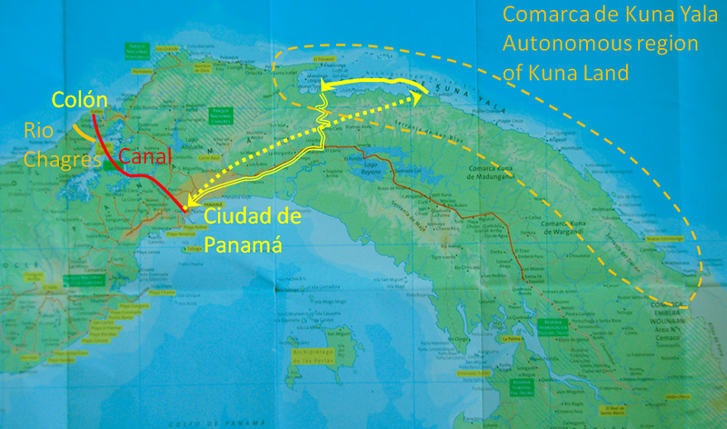 "We met in Panama City and then flew in small planes to a landing strip near the Kuna village of Nargana (yellow dots).  The Comarca de Kuna Yala (Autonomous Region of Kuna Land; orange dashes) is somewhat like a US Indian reservation.  You can enter Kuna Yala only with permission of the Kuna, and you must be accompanied by a Kuna guide.  We paddled westward for several days, camping on small islands (solid yellow).  At the end of the trip, we drove back to Panama City (double lines).  See my ""trip report"" (let me know if you want a copy) for the history of the Kuna and more about their culture."