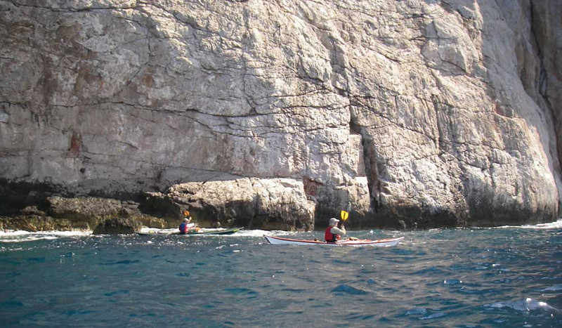 The northwest coast of Kalimnos has miles of high cliffs and scenic paddling next to the rocks.