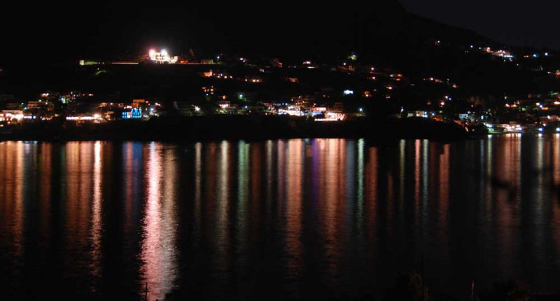 Here is a night view of Mirties on Kalimnos Island, taken from our villa on Telendos Island.
