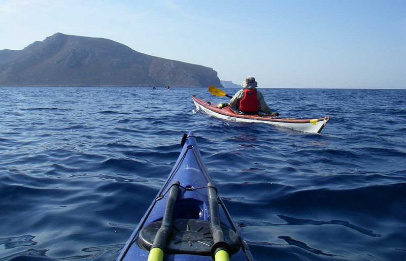 The next day you paddle to another island and repeat the process.  Here is the crossing from Leros to Kalimnos.