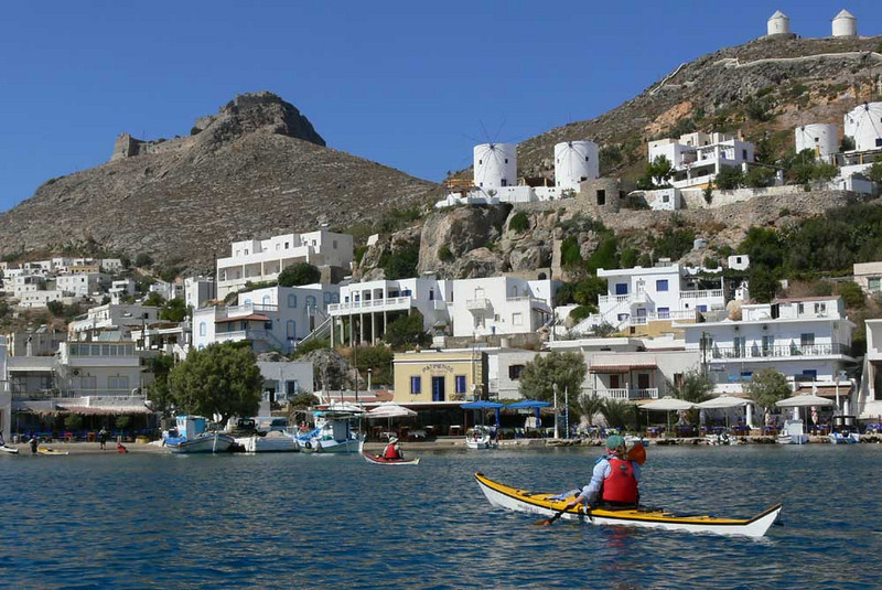 However, you'll find a scenic village where ever there is a sheltered cove with a good beach.  This is Pandeli on Leros Island.  The hill is topped by a crusader castle from the 1200s. (photo by Lena Conlan)