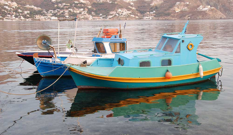 Everything in Greece is colorful, including the fishing boats.