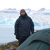 Here is my prime view real estate at the Knut Rasmussen glacier camp.  As you can see from my clothing, Greenland can be a bit cool even at the mid-August height of summer.  That's fine with me, since I hate hot weather and love the cold.
