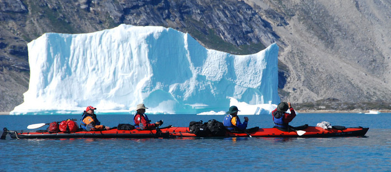 "Underway again, paddling past the usual bergs.  We are now in Ikateq (""the place where it (the current) is fast"")."