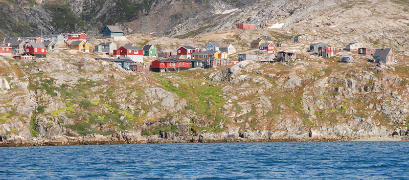 "This is the village of Kuummiut (""People of the River""), about 30 miles from Kulusuk.  This is where we started our paddling."