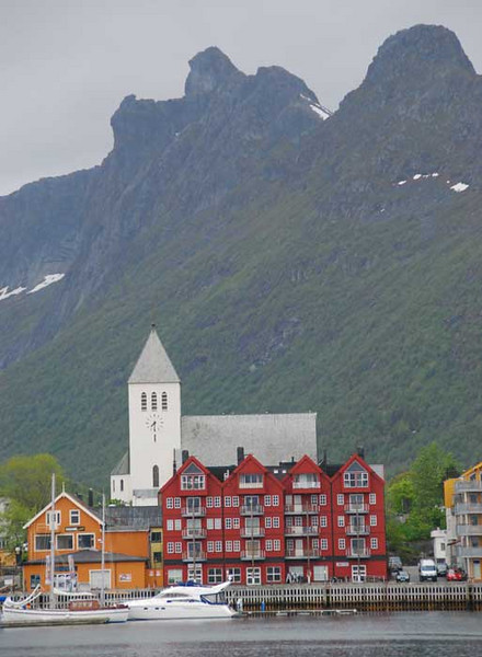 Svolvaer is the main town in the Lofotens.  The economy is still primarily cod fishing, but tourism is also important.  Like all towns I've seen in Norway, it is super clean and colorful.