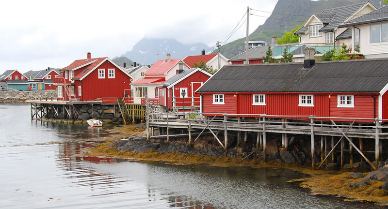 The traditional home for fishermen is a waterside house called a rorbu (plural rorbuer), which is usually painted red and trimmed in white.  Many of these have now been converted to rooms for tourists.  We stayed in rorbuer the first and last nights of our trip in Svolvaer.
